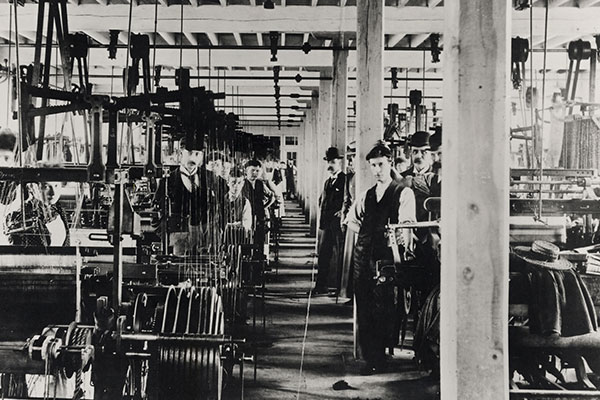 Silk mill staff in factory, dobby weaving